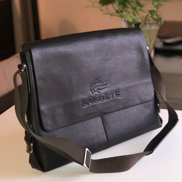 b38a3c8f Lacoste men's leather messenger bag.